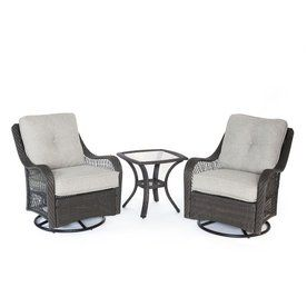 Hanover Outdoor Furniture Orleans 3 Piece Wicker Patio Conversation Set With Silver Cushions