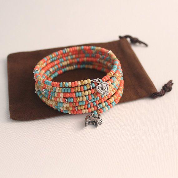 Southwestern Memory Wire Bracelet Beaded Rabbit Heart by Buntique