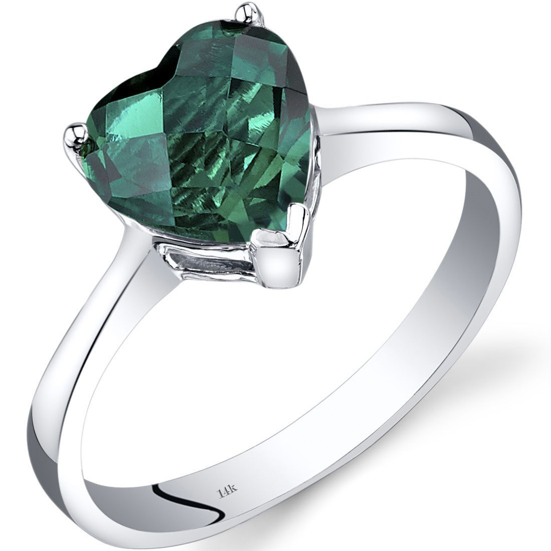 Oravo 14k White Gold 1 1/2ct TGW Created Emerald Heart Solitaire Ring (Size 7), Green