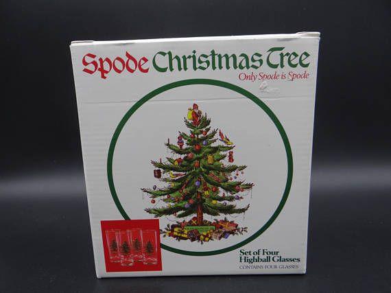 Spode Christmas Tree Set Of 4 Highball Glasses In Original