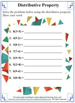 Distributive Property Math Worksheets Math Properties Distributive Property Math Worksheets
