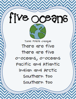 Social Studies: Once Upon A First Grade Adventure: Freebie: 5 Oceans Song