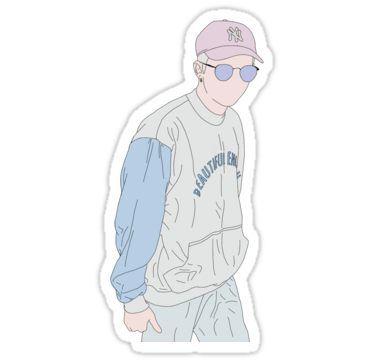 Bts Rap Monster Fashion Lineart 1 Sticker By Naovevo Ilustrasi Lucu Gambar Lucu Pola Doodle