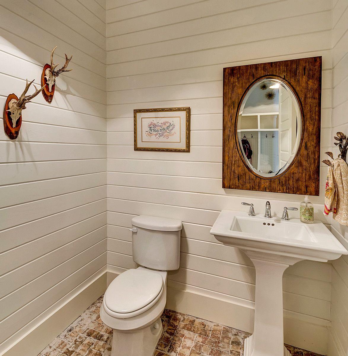 Brick floor bathroom - White Painted Bathroom Siding Accent Wood Mirror Brick Paver Floor Bannister Custom Homes Bannister Baths Pinterest Paint Bathroom Brick Pavers