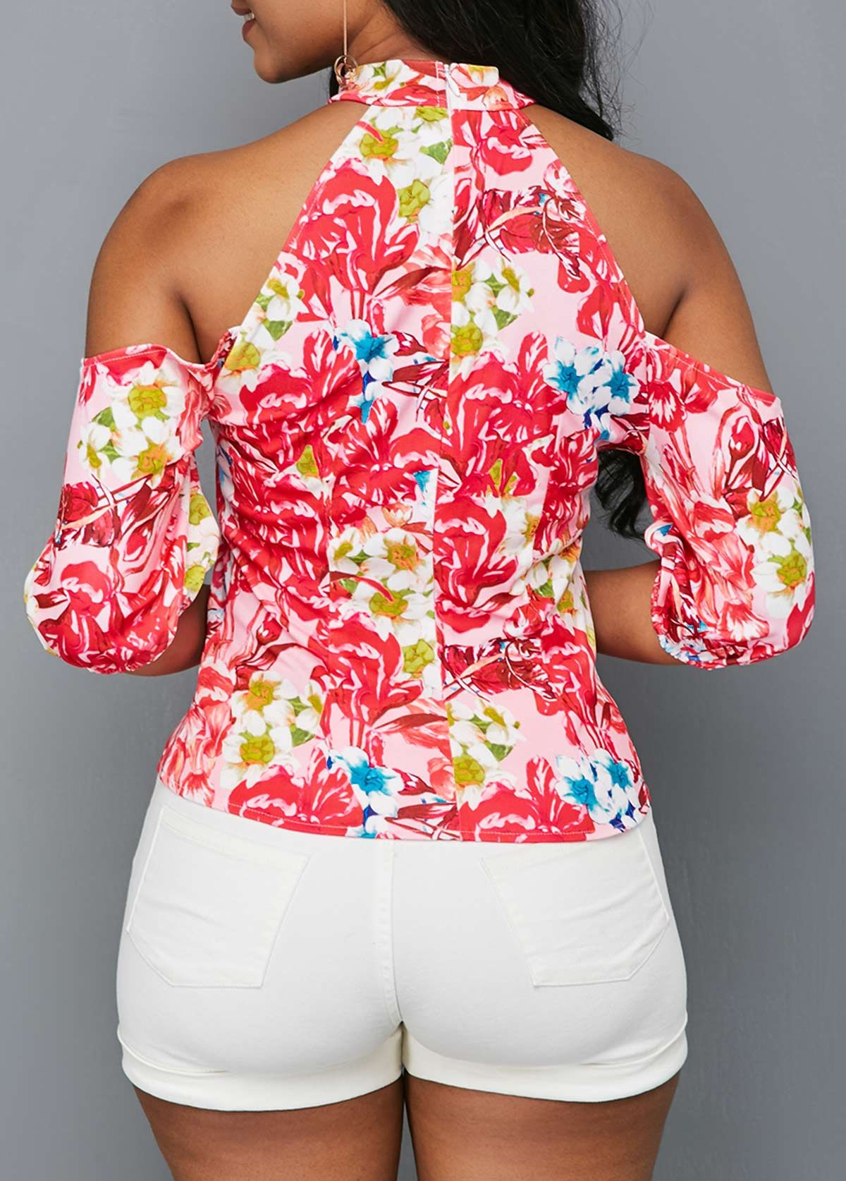 Cold shoulder cutout front flower print blouse rosewe