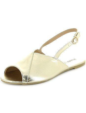 Sandales open-toe bi-matières                                                                                                 noir Femme