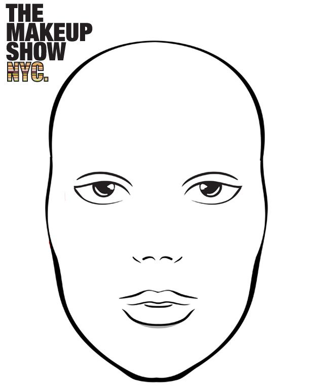 Blank Face Charts For Makeup Artists Sketch Coloring Page