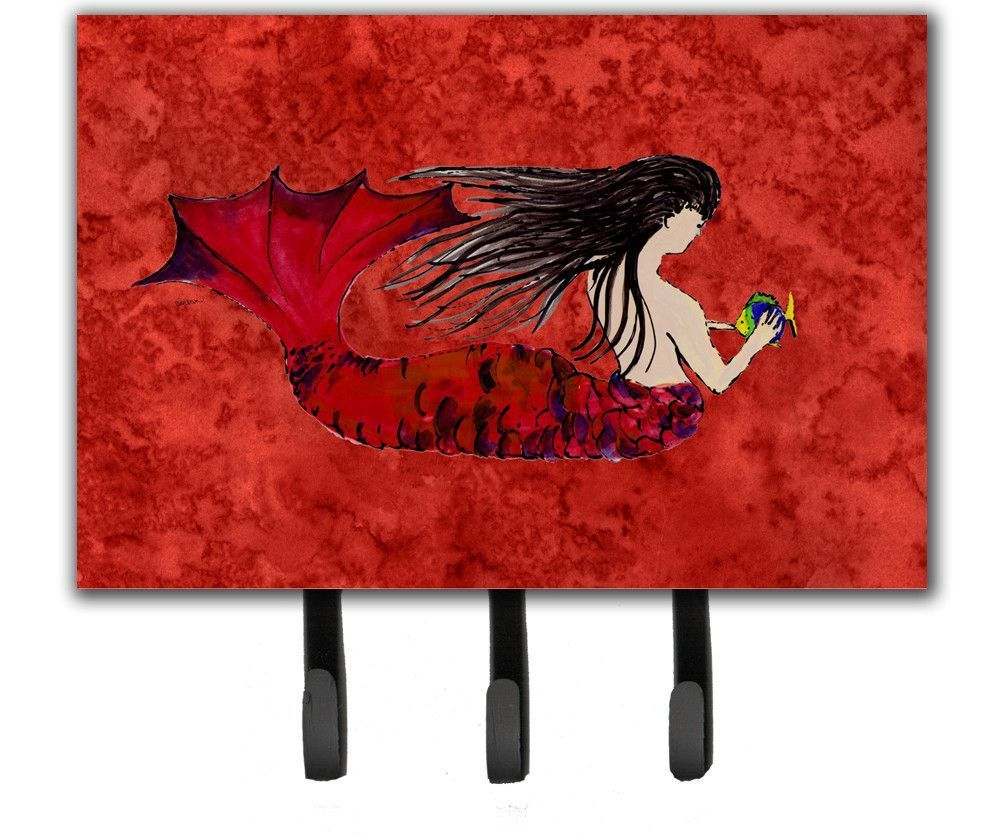Black Haired Mermaid on Red Leash or Key Holder 8726TH68
