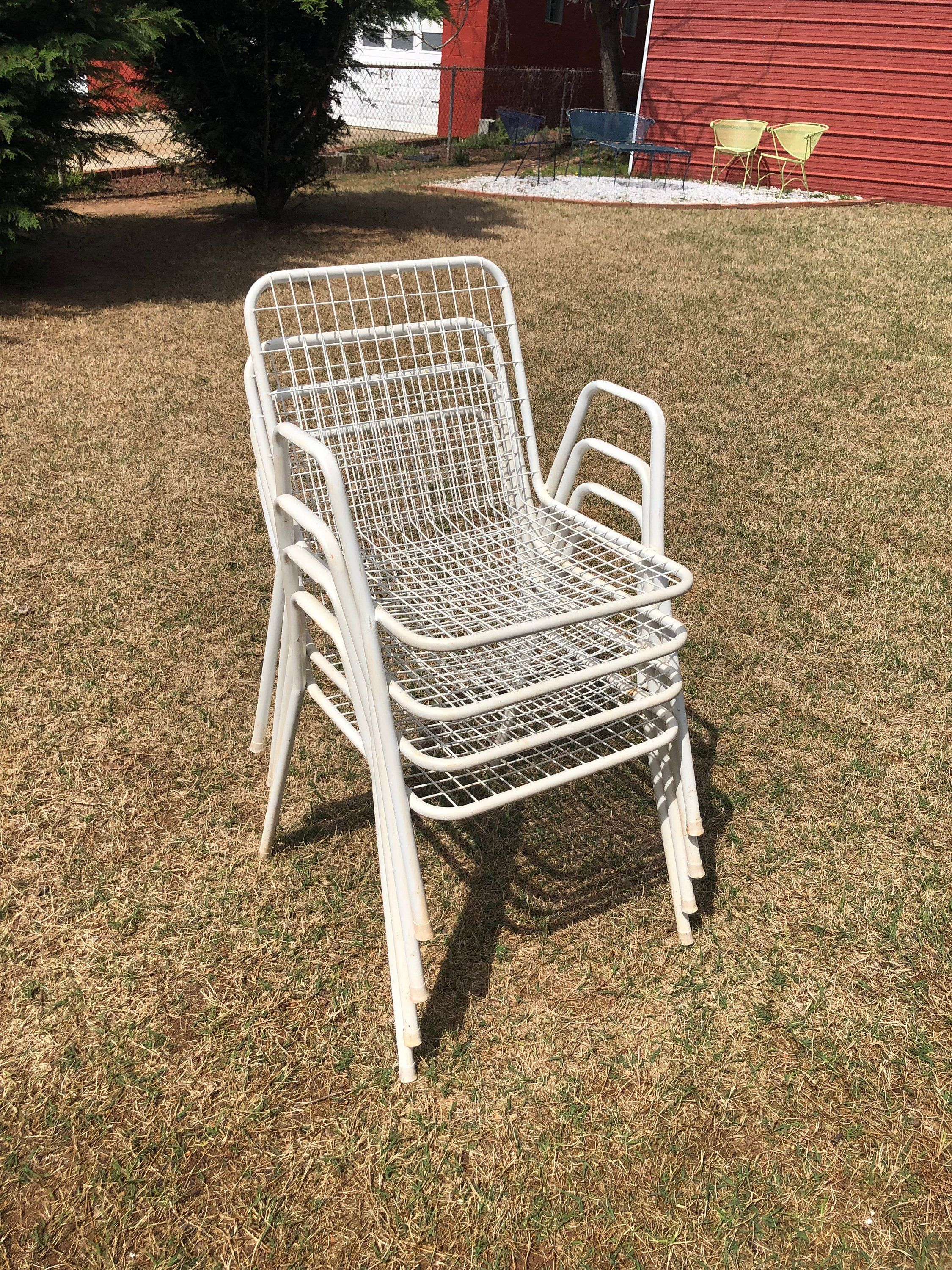 Peachy Vintage Set Of Four 4 White Emu Garden Rio Stacking Metal Camellatalisay Diy Chair Ideas Camellatalisaycom
