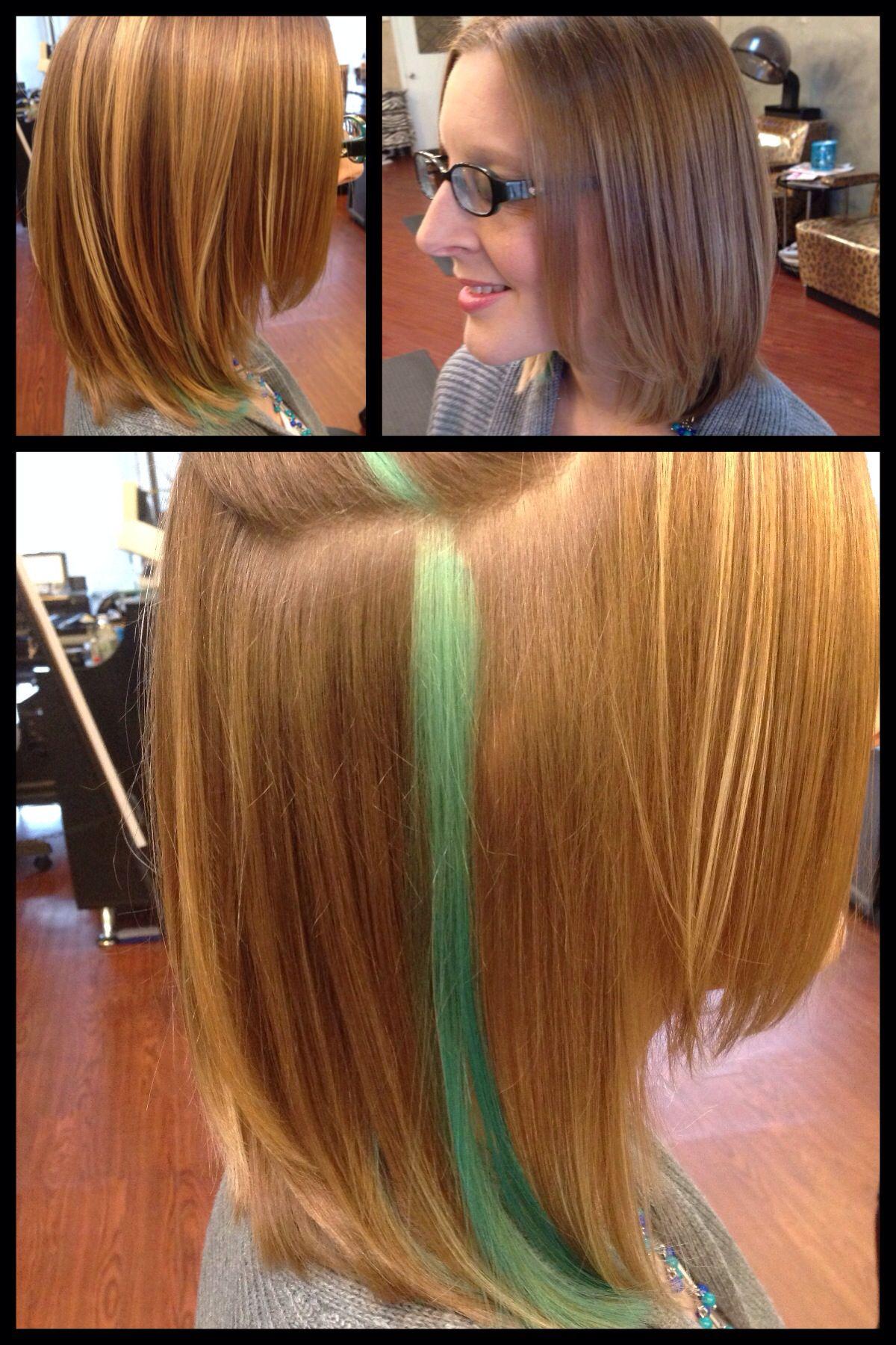 Turquoise Peekaboo Medium Length Layered Blonde Bob Done By Akishas