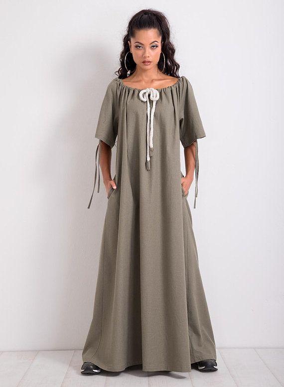 c1d68ad9a44 Linen Kaftan  Linen Maxi Dress  Plus Size Dress  Long Dress  Short Sleeve