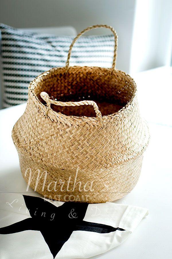 korb aus seegras tuch mit stern bloomingville marthas martha 39 s design korb siebdruck. Black Bedroom Furniture Sets. Home Design Ideas
