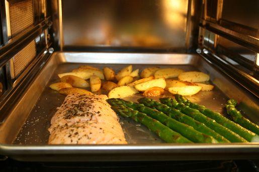 Steamed Salmon Potatoes And Asparagus In Gaggenau Steam
