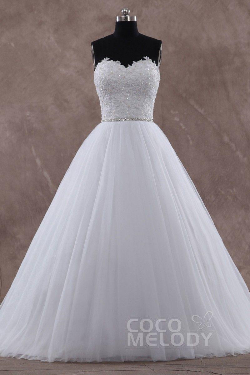 Heißes Brautkleid in A-Linie aus Tüll mit Herzausschnitt Hofschleppe Schnürkorsett Perlenstickerei und Applikationen Ärmellos CWLT15004 #corsages