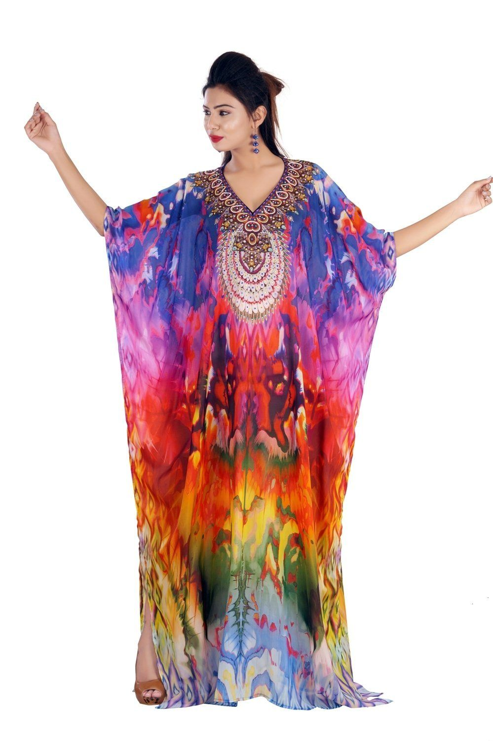 d9728277177 Silk kaftan Beautiful Womans one Piece Jewelled Full Length Resort wear  Beach Coverup Kaftan Dress Gown 169 -- To view further for this item