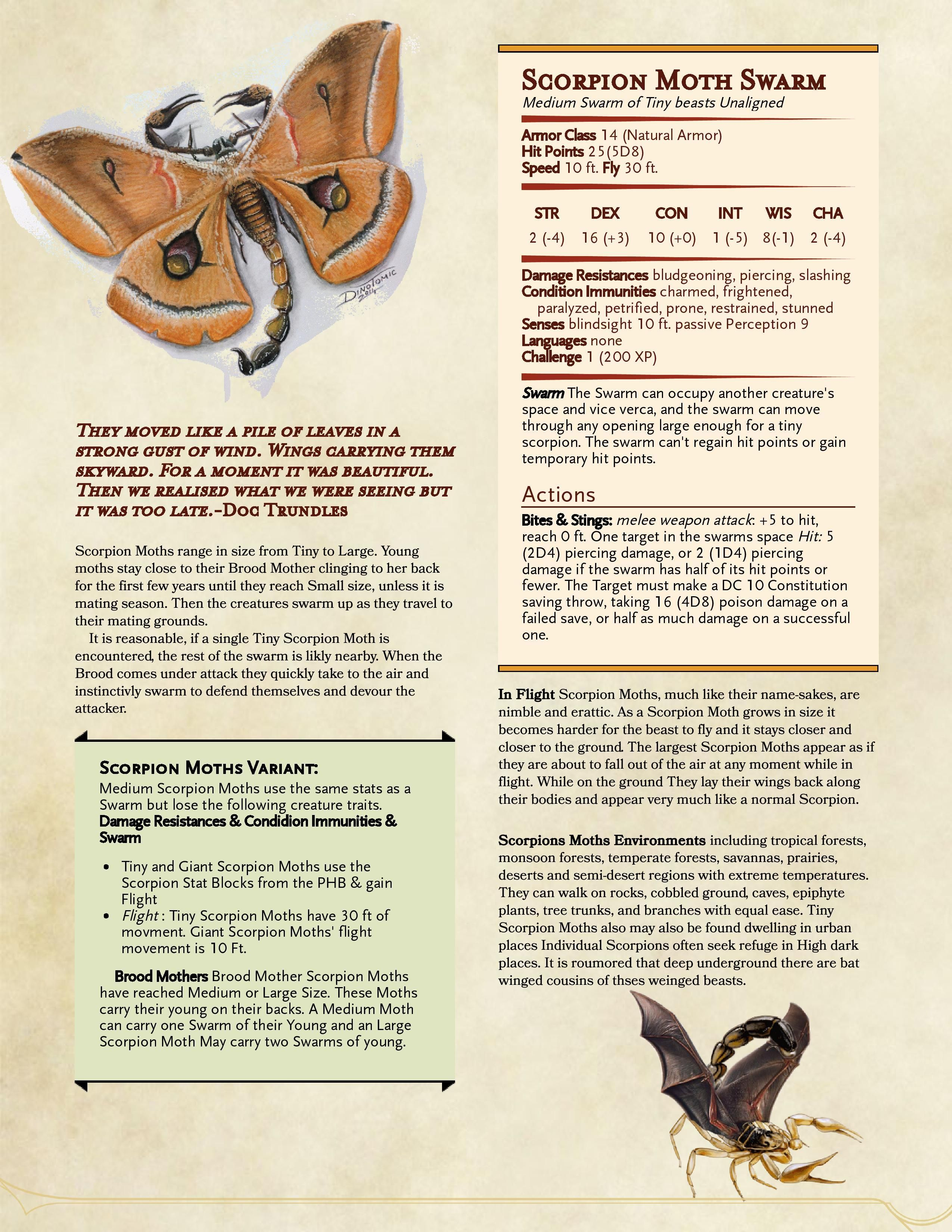 Homebrew Monster: Scorpion Moth Swarm - Runkle Plays Games