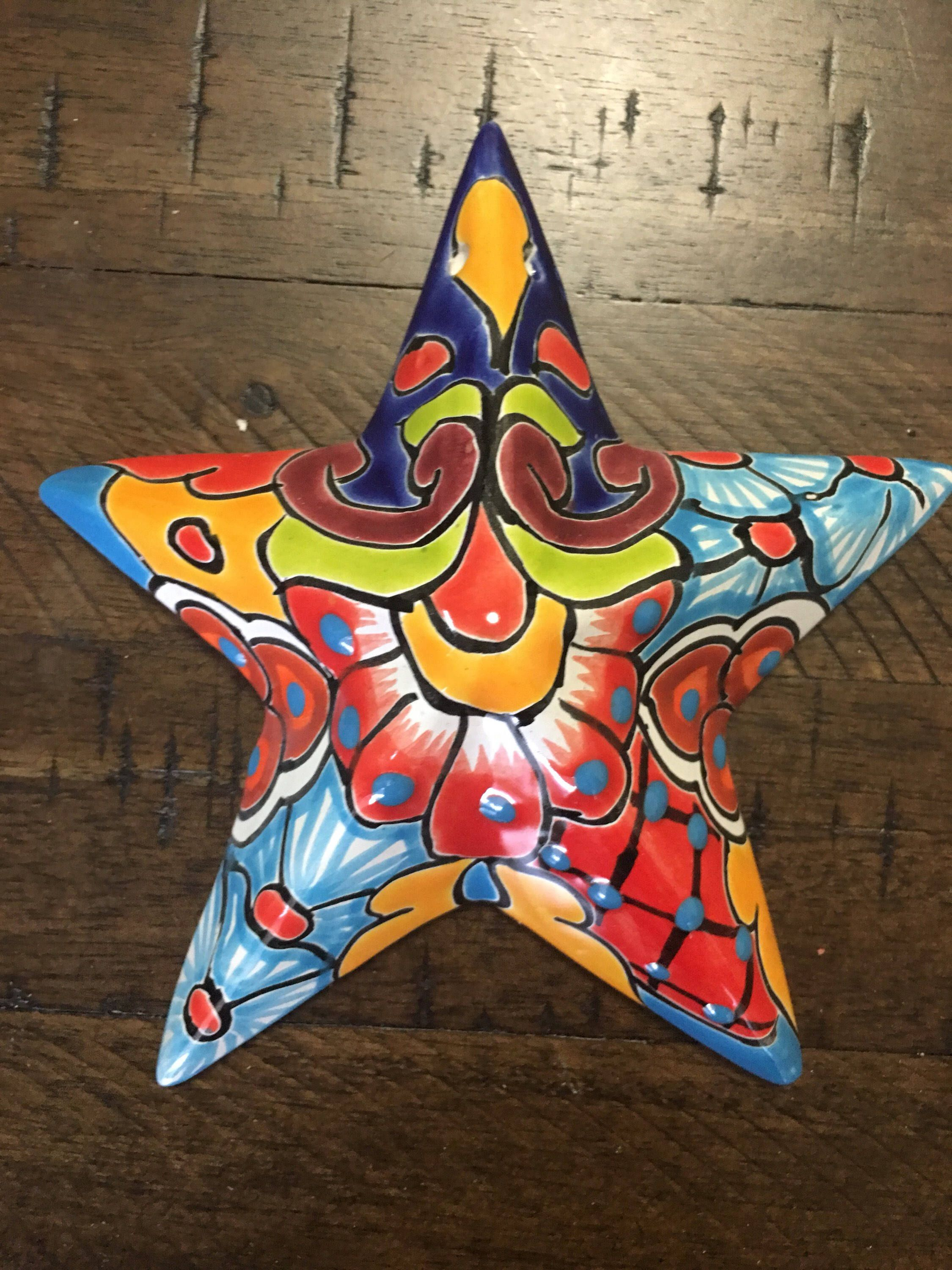 Talavera Star Wall Decor Colorful Mexican Pottery Folk Art Hanging Pinterest