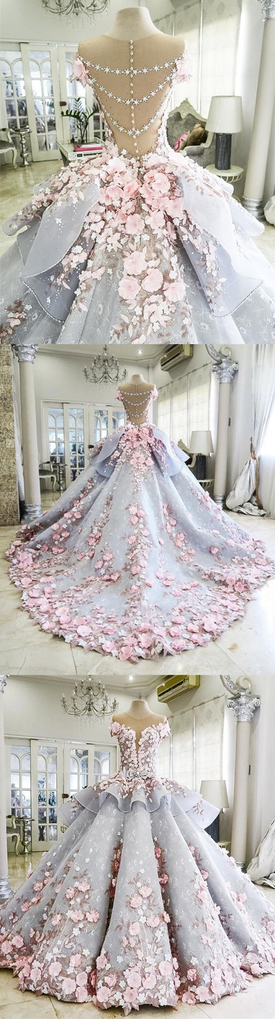 Pink Floral Flowers Beaded Lace Ball Gowns Light Blue Wedding
