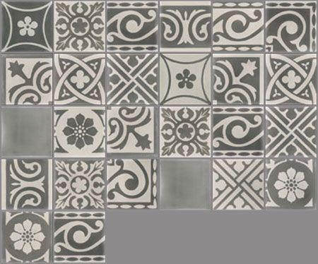 Carreaux de ciment - Les patchworks - Carreau PW 25 - Couleurs - Peindre Du Carrelage Mural Salle De Bain
