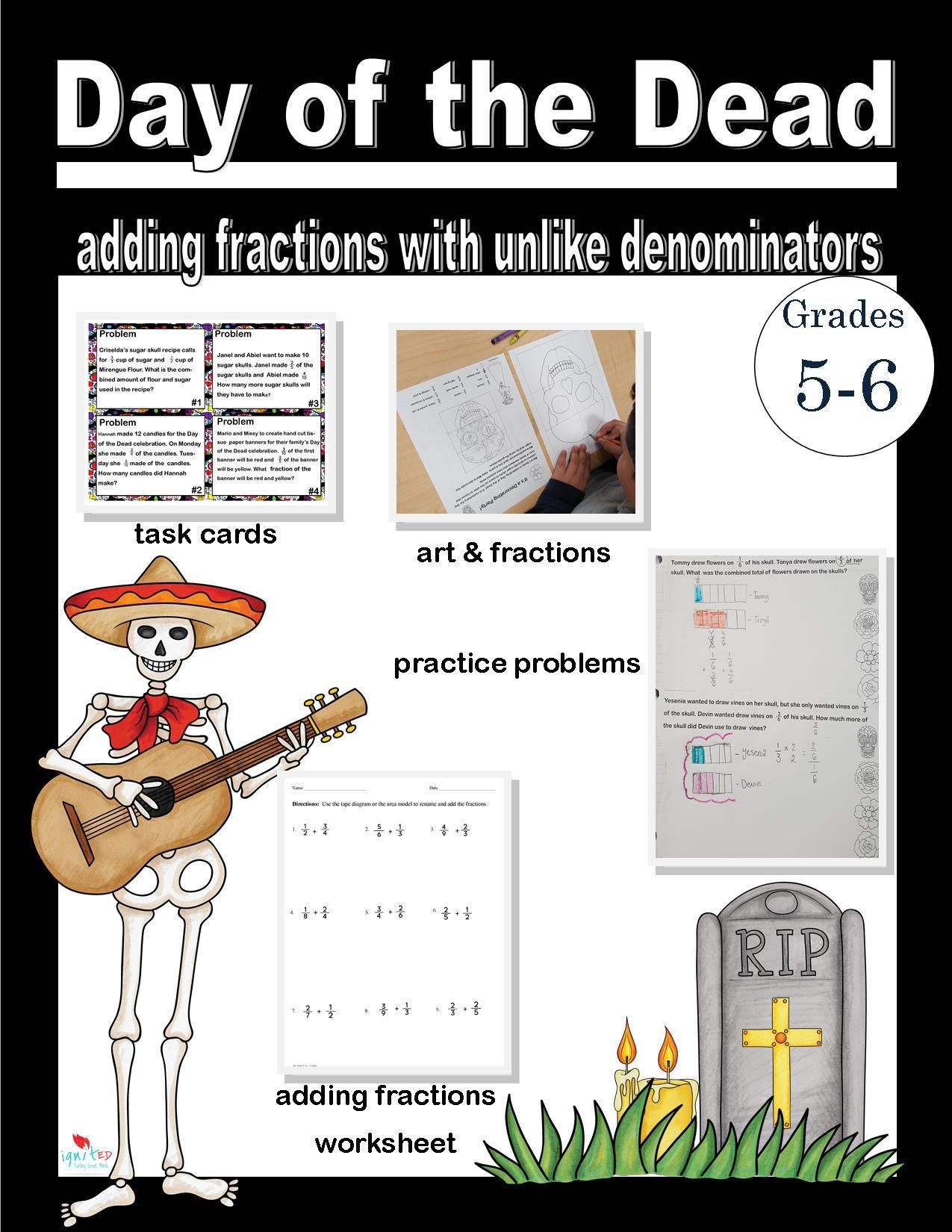 Day Of The Dead Adding Fractions With Unequal