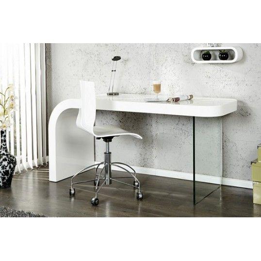 OPTIC   design desk white high gloss glass home office table. OPTIC   design desk white high gloss glass home office table
