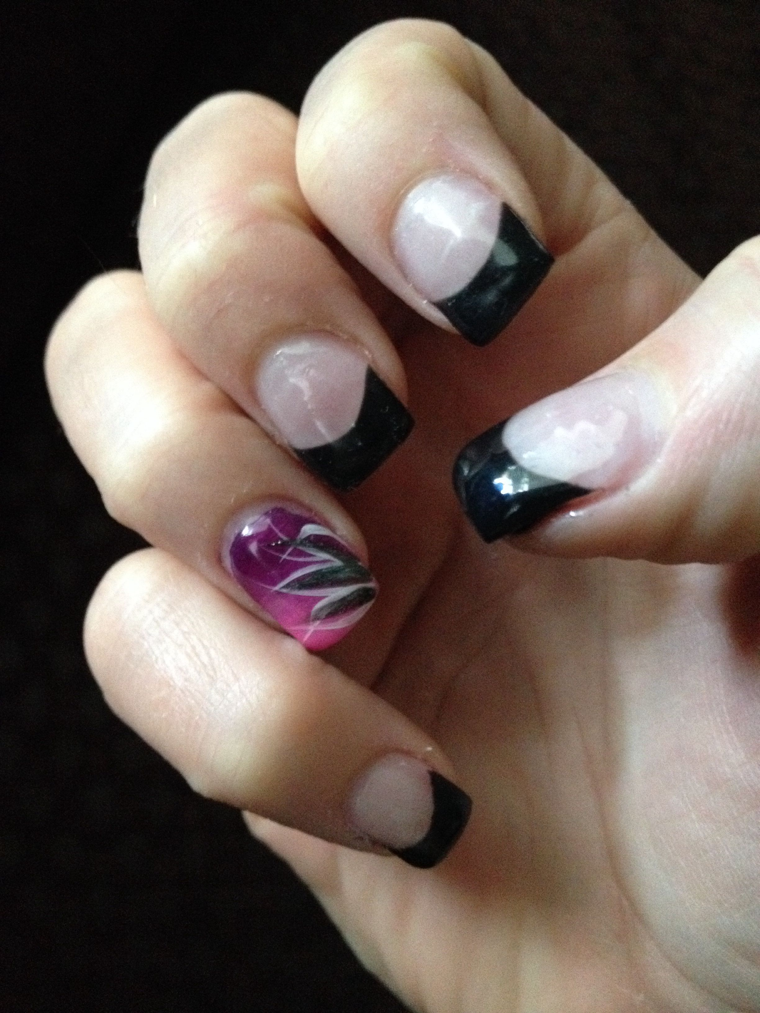 Gel Nails With Hand Painted Design By Jessica Baker Nails