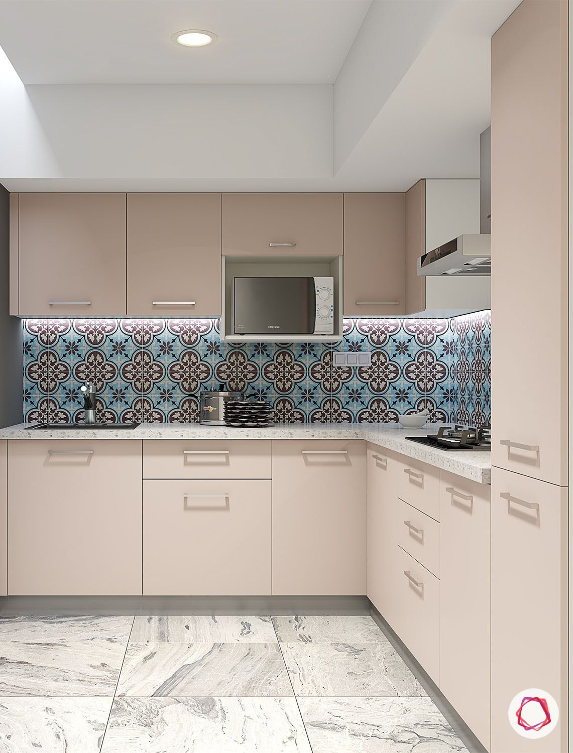 Pastel Modular Kitchen In India Loving This Trend Pastels Interiors Modularkitchen Kitchendesig Kitchen Tiles Design Home Tiles Design Floor Tile Design