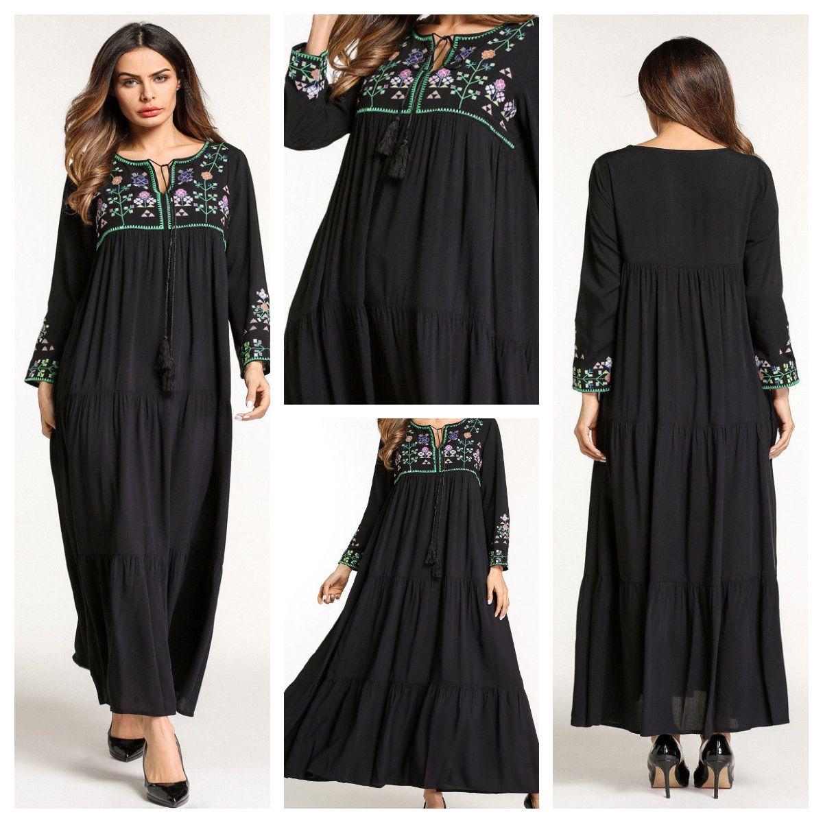Loose maxi dress black viscose material summer dress abaya