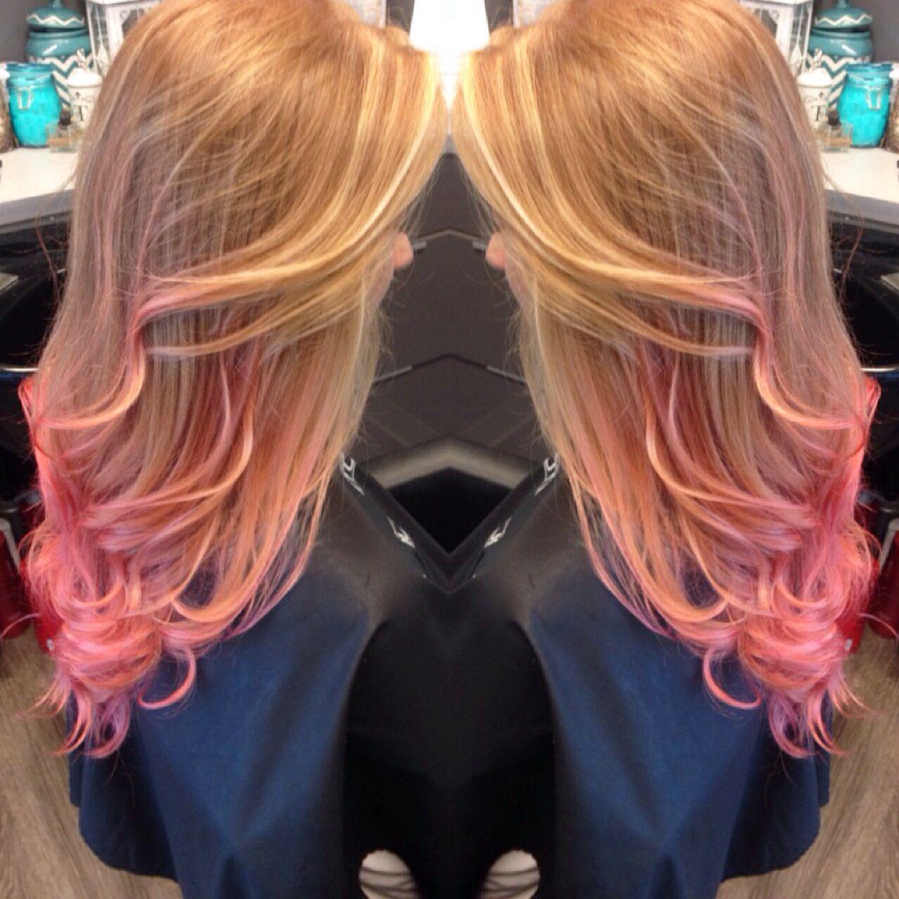 ginger hair pink tips dip dye