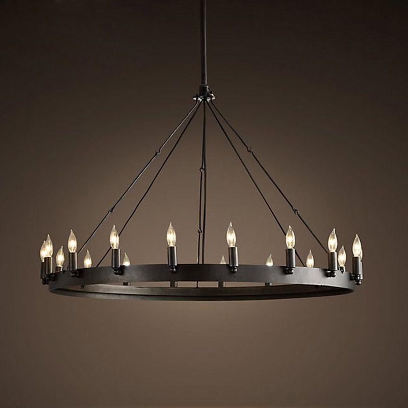 Zx Loft American Retro Iron Pendant Lamp Vintage Industrial E14