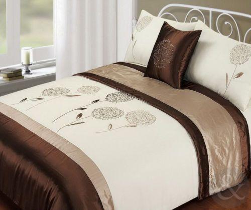 Juego de ropa para cama 5 piezas color marr n beige edred n imitaci n de seda ebay comprar - Edredon de seda ...