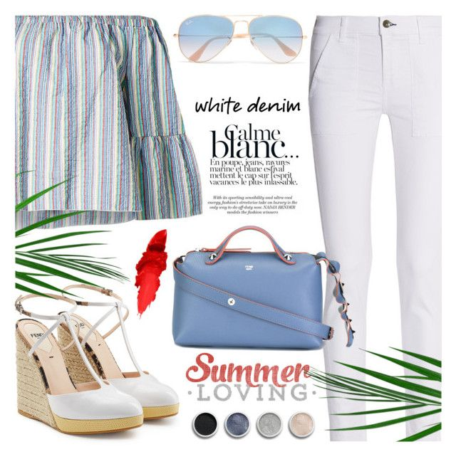 """White jeans"" by jan31 ❤ liked on Polyvore featuring rag & bone, See by Chloé, Fendi, Ray-Ban, Maybelline and Terre Mère"