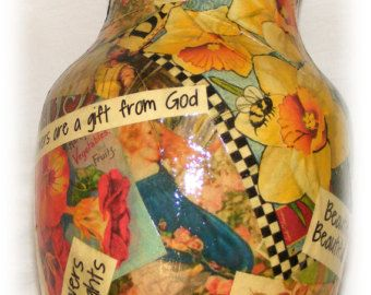 Upcycled Decoupaged Vase (D118)