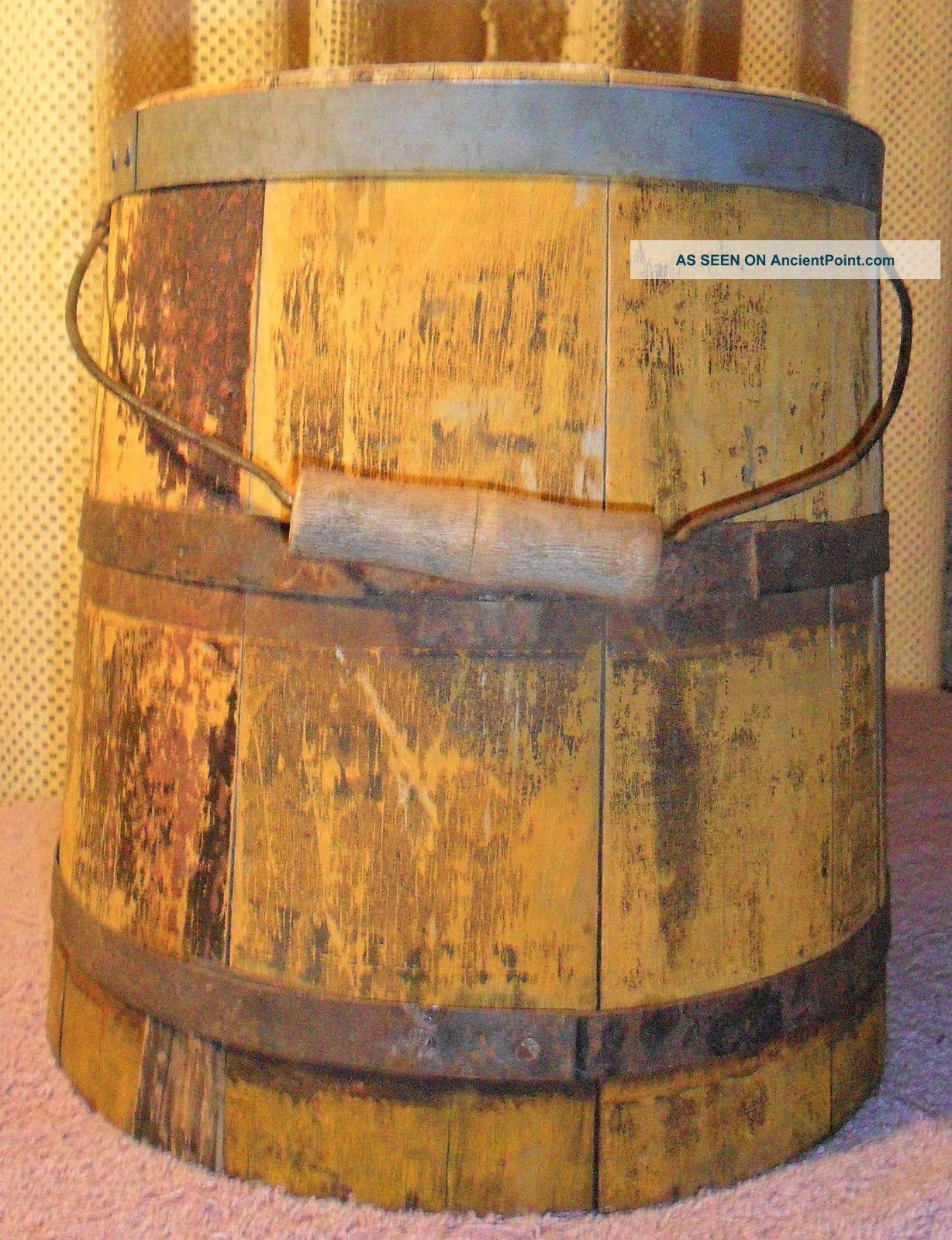 Wooden Milk Bucket Pail Vintage Dairy Container Wood Tongue Groove