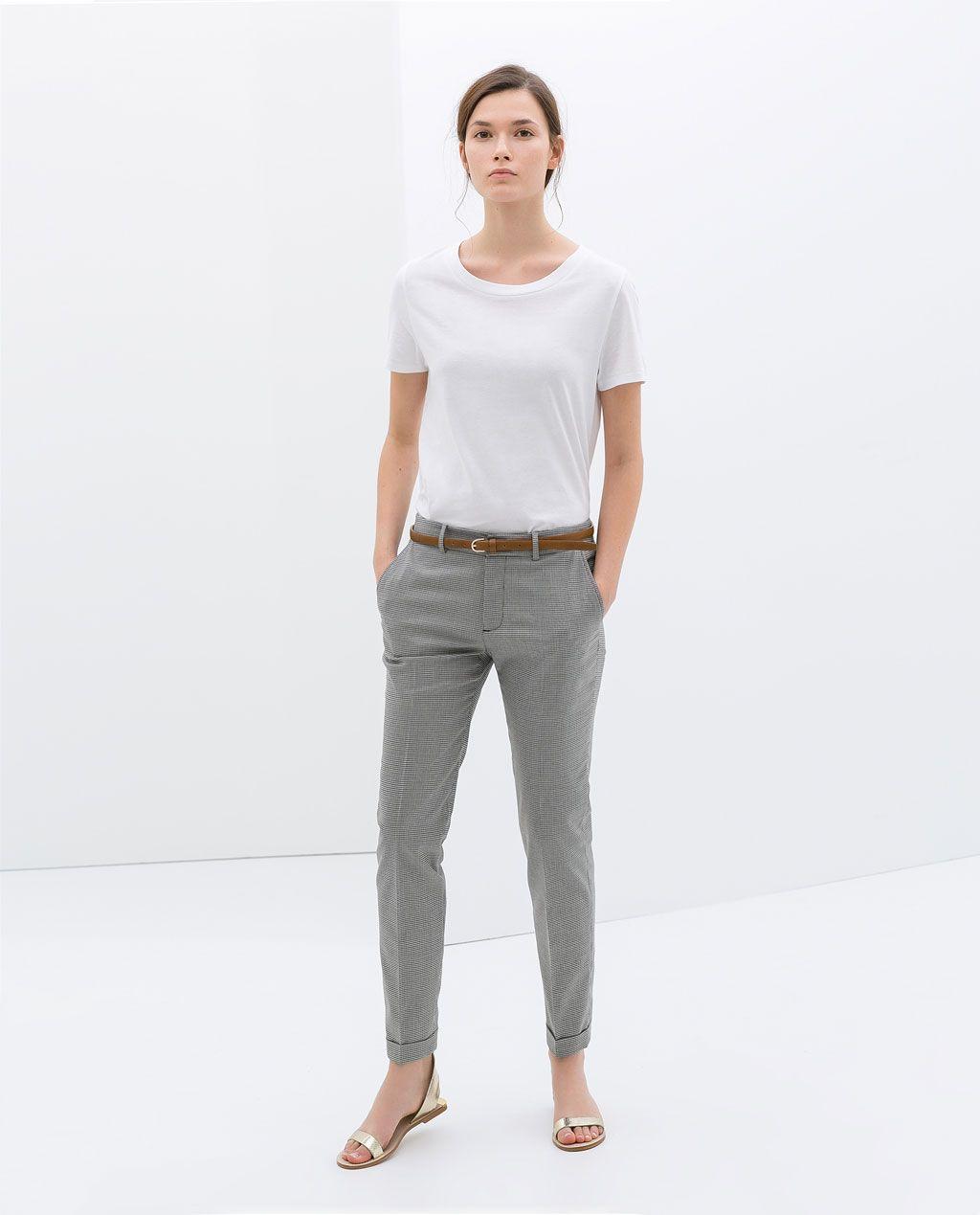 Poule Pied Femme Pantalon De Pantalones Zara Fashion Motif XqAPcz