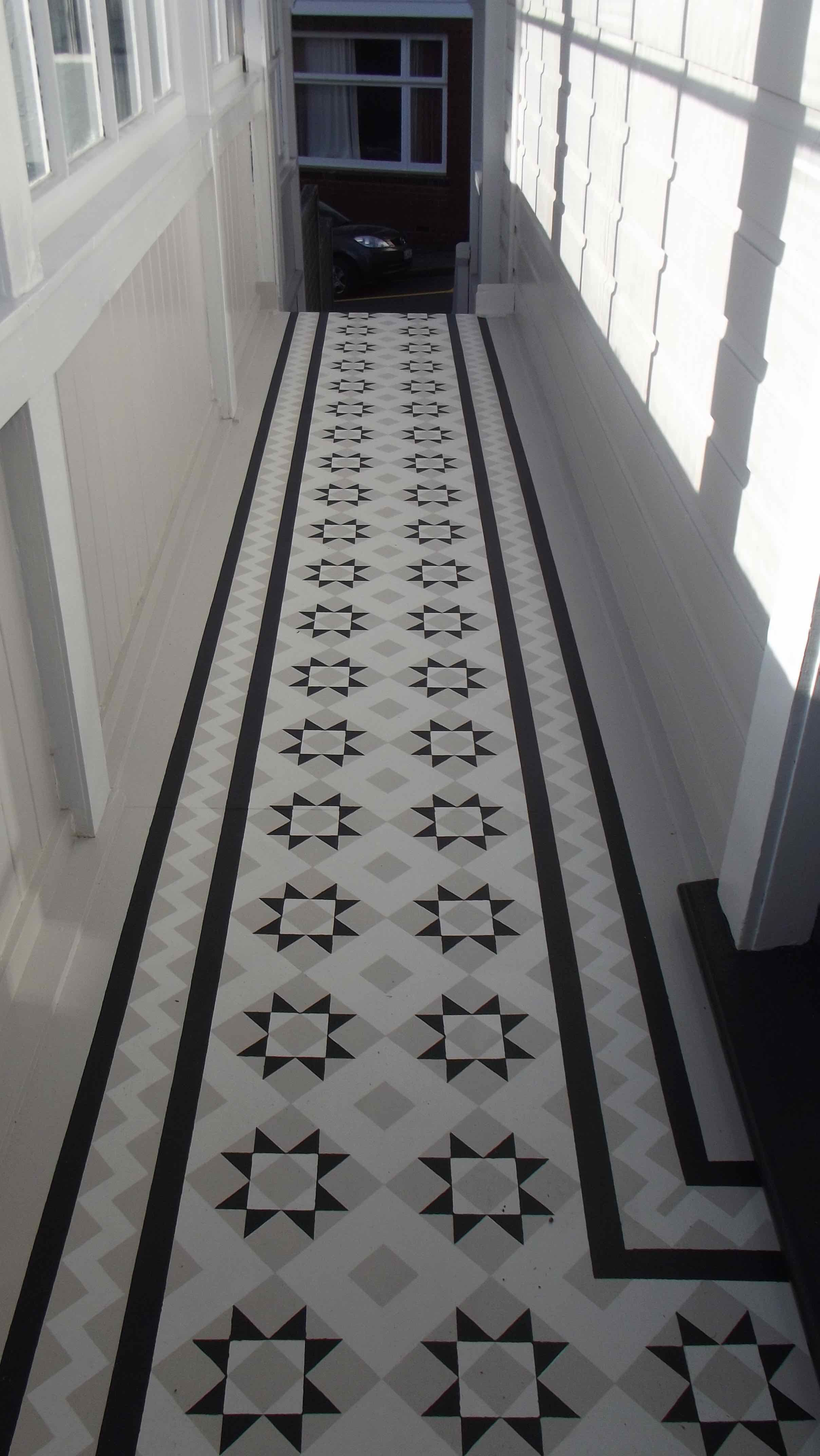 """Faux tile mosaic floor Mural. Stenciled on with """"Resene"""" 'walk-on' Acrylic, in the homes existing colour scheme. Designed & Painted by Ellen 19/6/16"""