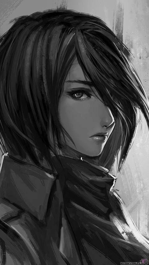 Mikasa shingeki no kyojin art by nguyen uy vu