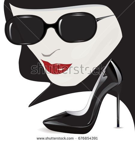 Female Face Mysterious Red Lips Black Sunglasses Lacquered