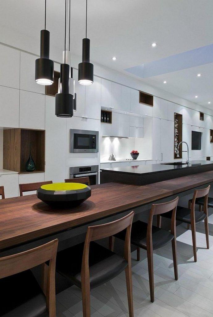 Wunderbare Moderne, Offene Küche Design Mit Anhänger Lampen über Lange  Esstisch Aus Holz Inklusive Beleuchtung Idee Unter Kabinett Inc