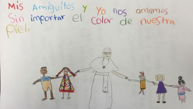 We need LOVE, Not Division!  5-year old Sophie, who busted through security to reach Pope Francis? Her picture/ drawing says it all. ❤️