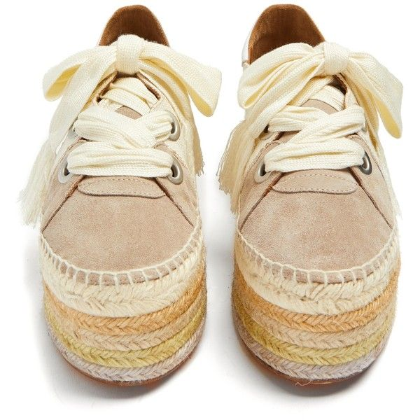 36d3e5fc3 Chloé Qai lace-up platform espadrilles ($650) ❤ liked on Polyvore featuring  shoes, sandals, striped espadrilles, laced up shoes, platform lace up shoes,  ...