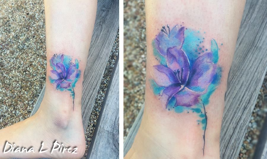 Austin Watercolor Tattoo: Watercolor Lilies