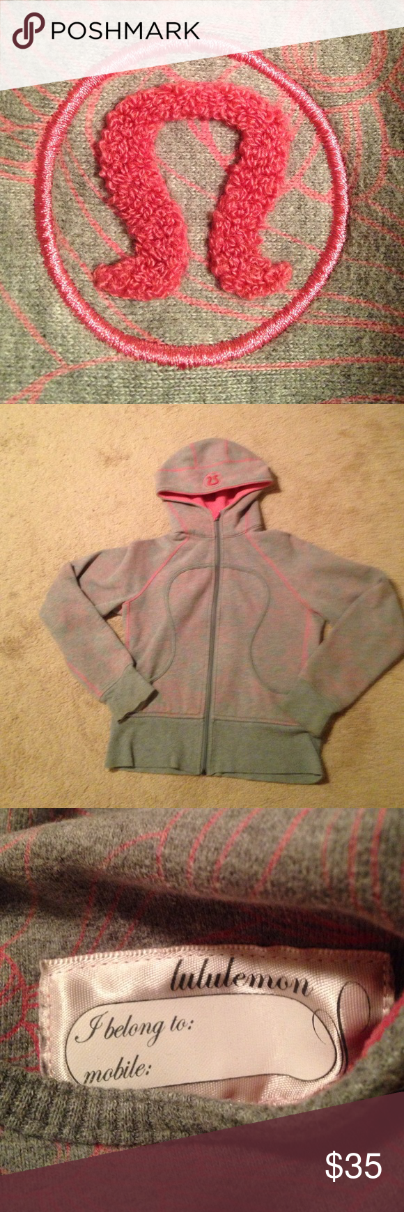 """Gray with pink Lululemon """"scuba"""" hoodie Lululemon gray with pink """"scuba"""" hoodie.  Great condition with exception of missing zipper pull.    Size is missing.  I believe it's about a 6 or a medium.   Make me an offer!!!! lululemon athletica Tops Sweatshirts & Hoodies"""
