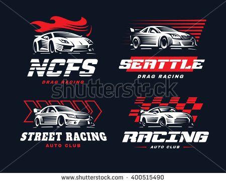Sport car logo illustration on dark background. Drag racing ...