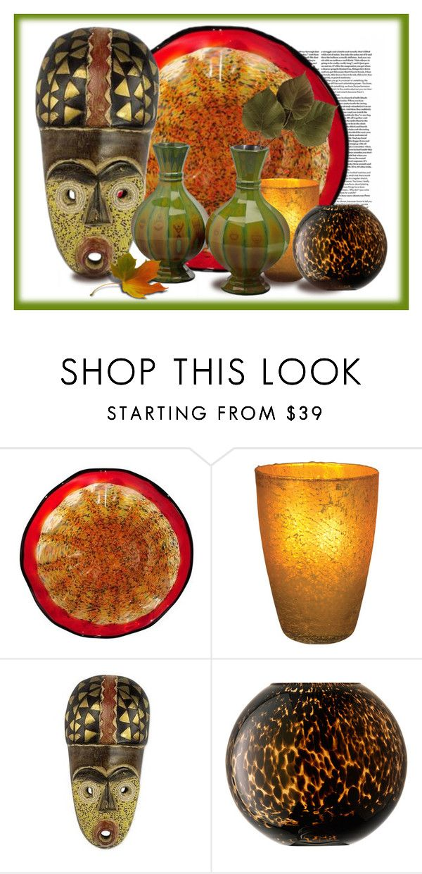 """""""Autumn Glass"""" by kathy-martenson-sanko ❤ liked on Polyvore featuring interior, interiors, interior design, home, home decor, interior decorating, Dale Tiffany, Cultural Intrigue, NOVICA and LSA International"""
