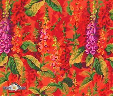 Fox Gloves Hot Cotton Fabric by Philip Jacobs x 1/2 Metre +