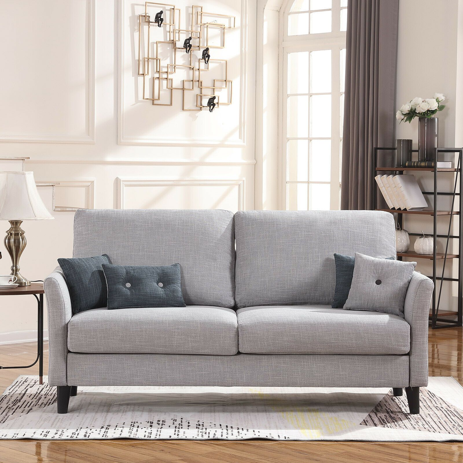 Modern Upholstered Sofa Fabric Contemporary Couch In Living Room Light Gray Sofas Living Roo Grey Sofa Living Room Grey Carpet Living Room Yellow Living Room