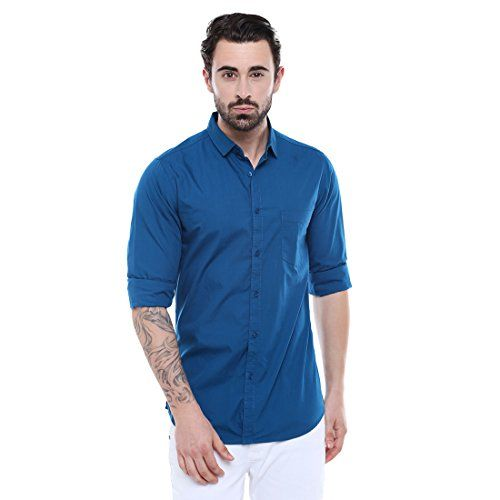 76a66a82e8 Dennis Lingo Men's Solid Blue Slim Fit Casual Shirt #priceonline #price  #shopping #