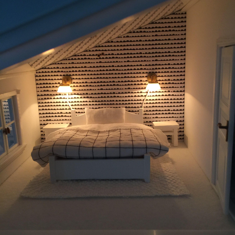 lighting for dollhouses. Wonderful Modern Miniature Attic Bedroom With Lighting. Lighting For Dollhouses D