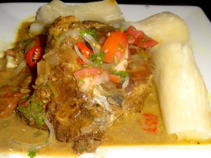 fresh fish in coconut curry sauce...with cassava/tapioca